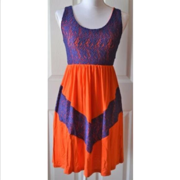 designer fashion 72cae a7f8d Women s Orange Blue Tank Chevron Short Dress